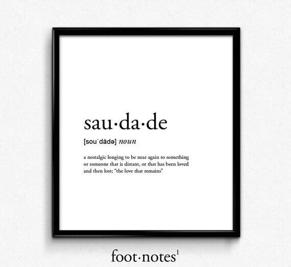 Saudade Definition Dictionary Art Print College Dorm Decor Etsy