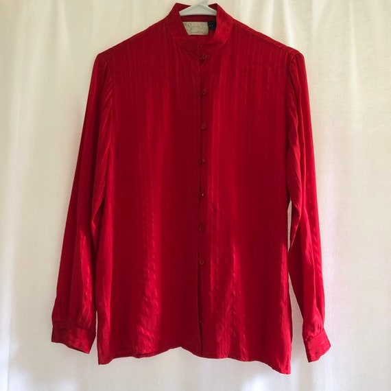 Vintage 80's Red Tonal Striped Silk Blouse