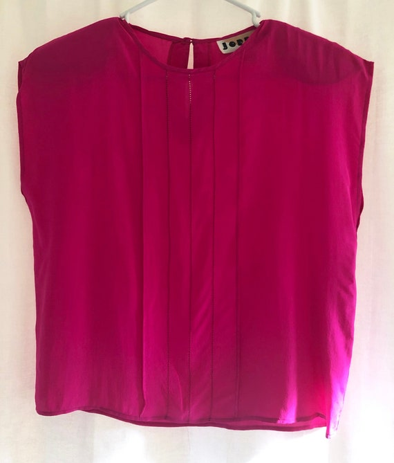 Vintage 1980s Red Pin Tuck Front Blouse