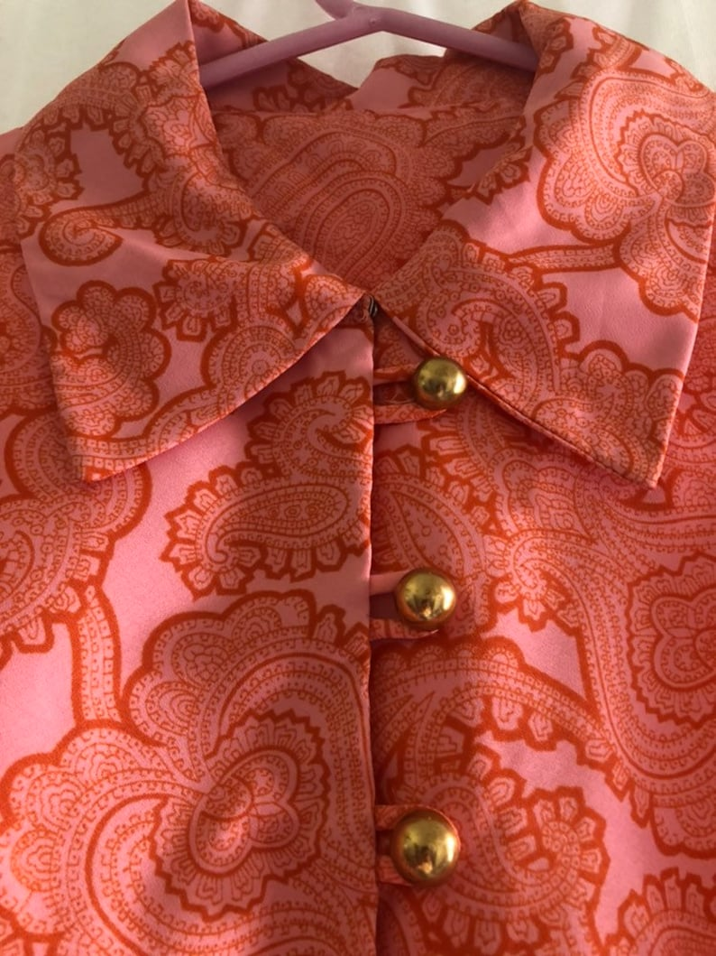 Vintage 60/'s70/'s Pink and Orange Paisley Shirt Dress