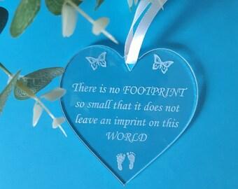 BABY Loss Memorial Plaque, Miscarriage Support, In Memory Gift Keepsake, FOOTPRINT Heart, Stillbirth Infant / Pregnancy Loss, Perspex Heart