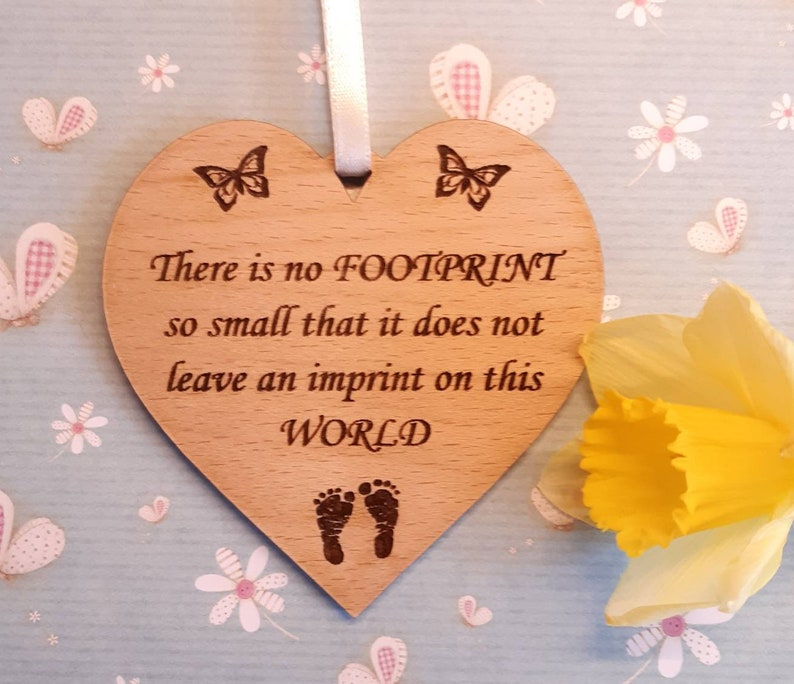Baby Loss Memorial FOOTPRINT Wood HEART Miscarriage image 0