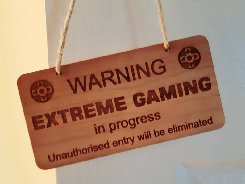 FUNNY Gamer's Door Sign Man Cave Gamer Gift Computer image 0
