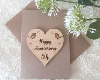 5th Wedding Anniversary Card - WOODEN Anniversary Card - 5th Anniversary - Wood HEART Wedding Anniversary - Wood Card - Husband or Wife Gift