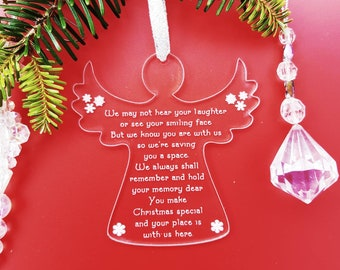 Angel Memorial Decoration, Christmas Tree Ornament In Memory, Perspex Angel, In Loving Memory Keepsake, Christmas Remembrance Bauble