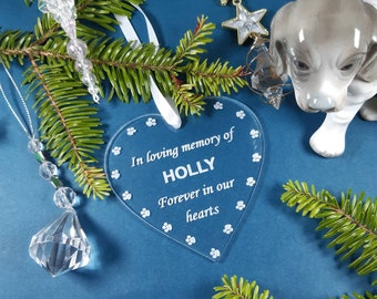 Pet Memorial Plaque. Personalised Pet Gift, Christmas Tree Decoration. Remembrance for Dog or Cat, In Loving Memory  Heart, Pet Loss Gift