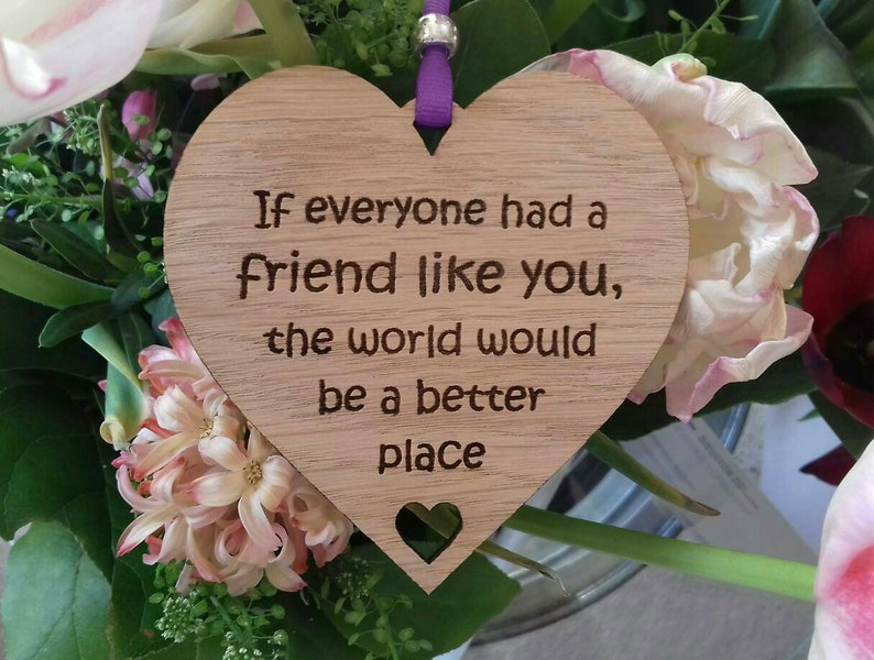 Best Friend Gift Friendship Wooden Heart Laser Engraved Sign image 0