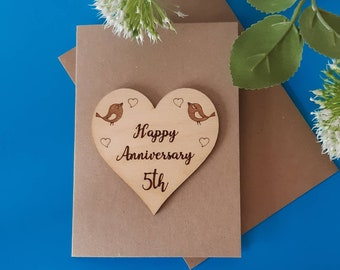 5th Wedding Anniversary Card - WOODEN Anniversary Card - 5th Wood Anniversary - HEART Wedding Anniversary - Wood Card - Husband or Wife Gift