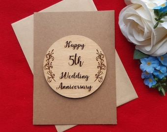 5th Anniversary Card - Wooden Wedding Anniversary Card - Wood Card - Five Years Married - Husband or Wife Gift - Happy 5th Anniversary