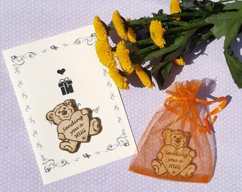 Teddy BEAR HUG Friendship Token, Wood Pocket Hug Card, Send a Hug Gift, Missing You Family Friend, Get Well Gift, Wooden Bear Keepsake
