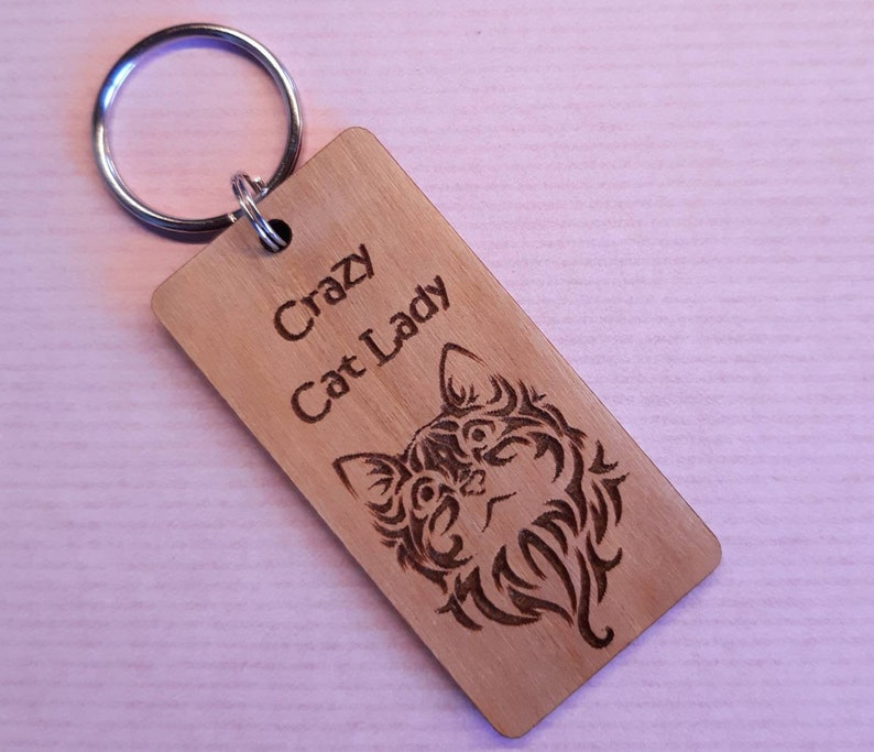 Crazy Cat Lady Cat Lover Gift Friend Gift Wooden Key Ring image 0