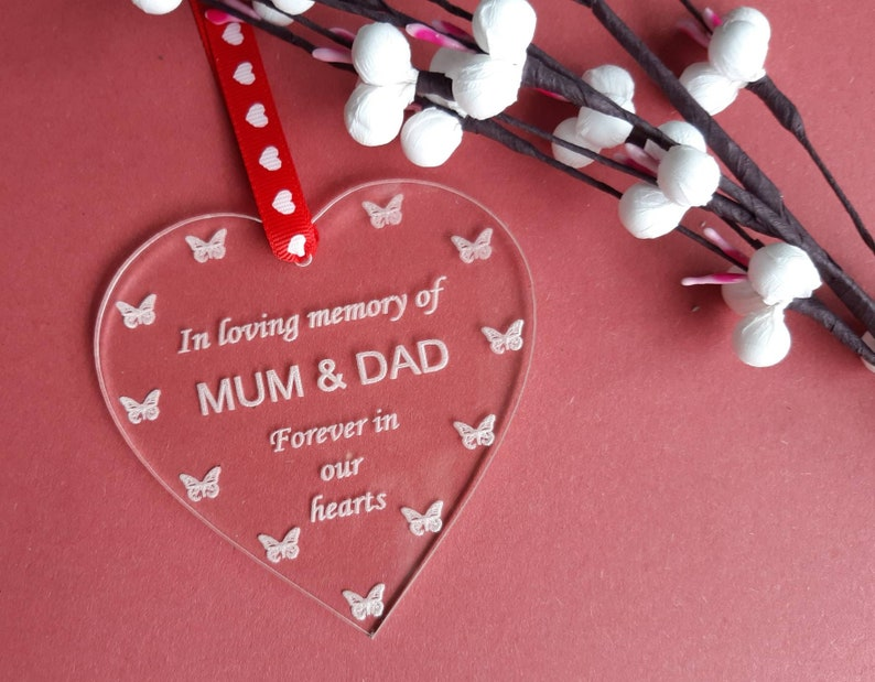 Loving Memory of MUM & DAD Heart Memorial Plaque Parents image 0