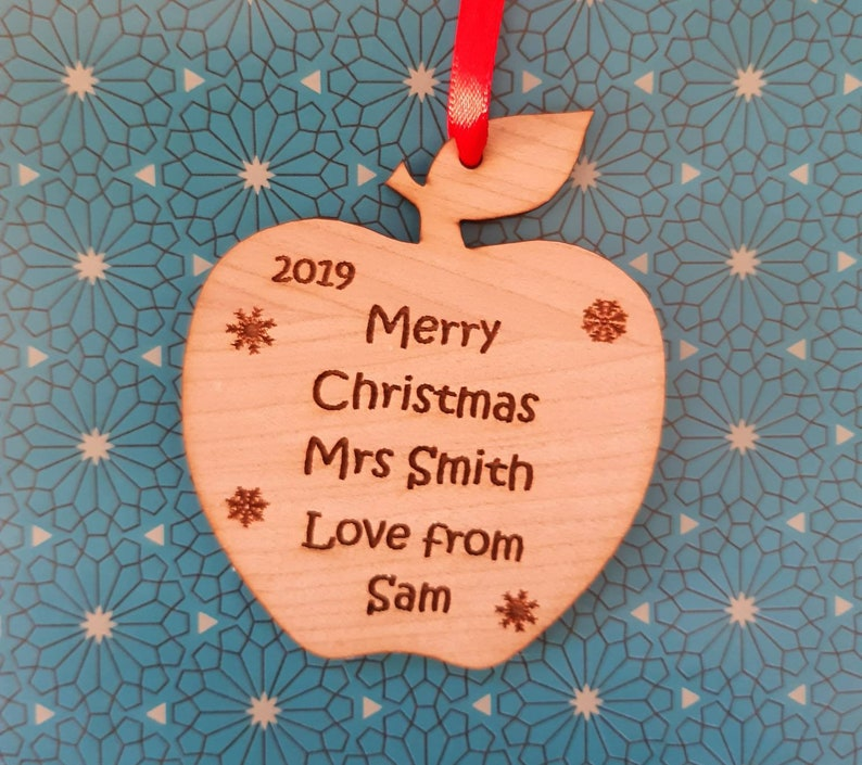 Personalised TEACHER Christmas Decoration Gift Gift Tag Wood image 0
