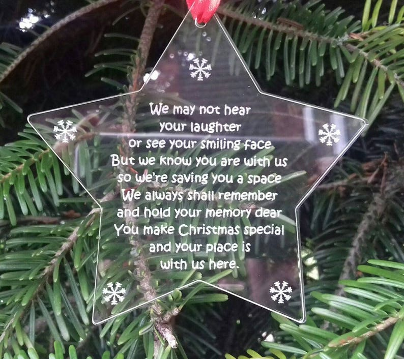 Christmas STAR In Memory Memorial Remembrance Christmas Tree image 0