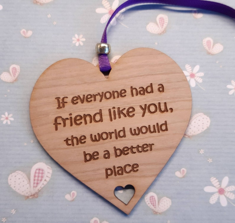 Best Friend Gift Friendship Wooden Heart Gift for Friend image 0