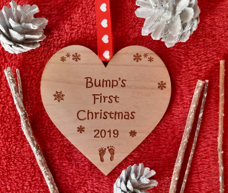 BUMP'S First Christmas Baby Bump WOOD Tree Decoration image 0