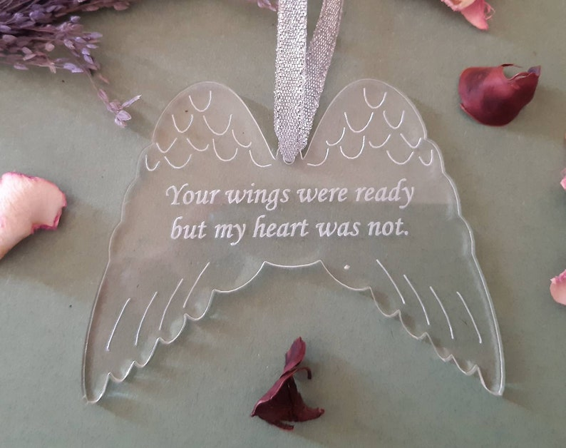 Memorial Decoration ANGEL Wings In Memory Plaque Clear image 0