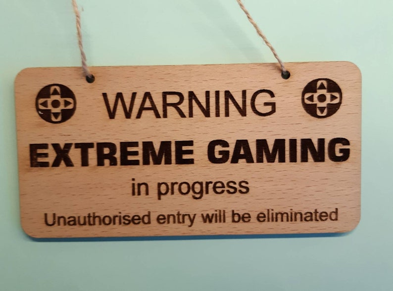 Gamer Gift Door Sign Computer Gamer Gift Wood Door Hanger image 0