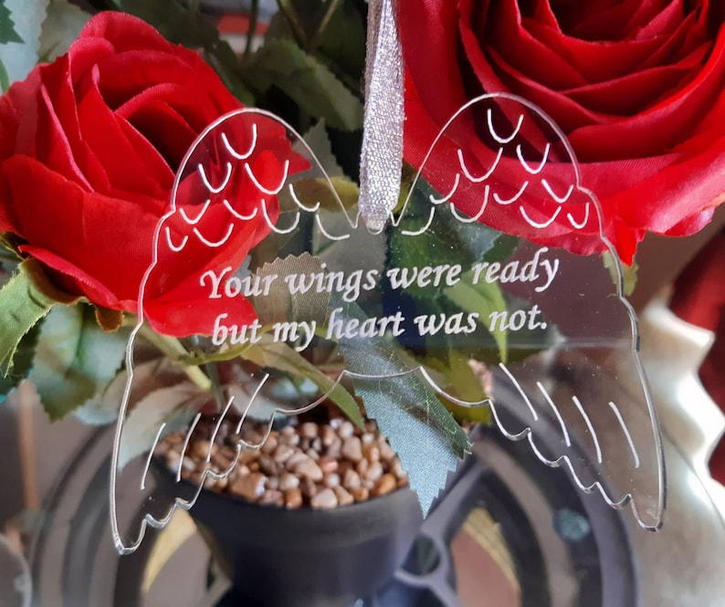ANGEL Wings Christmas Memorial Tree Decoration Engraved image 0