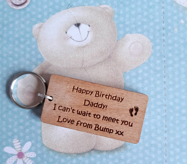 Daddy Wooden Keyring Happy Birthday Daddy Gift from Bump image 0