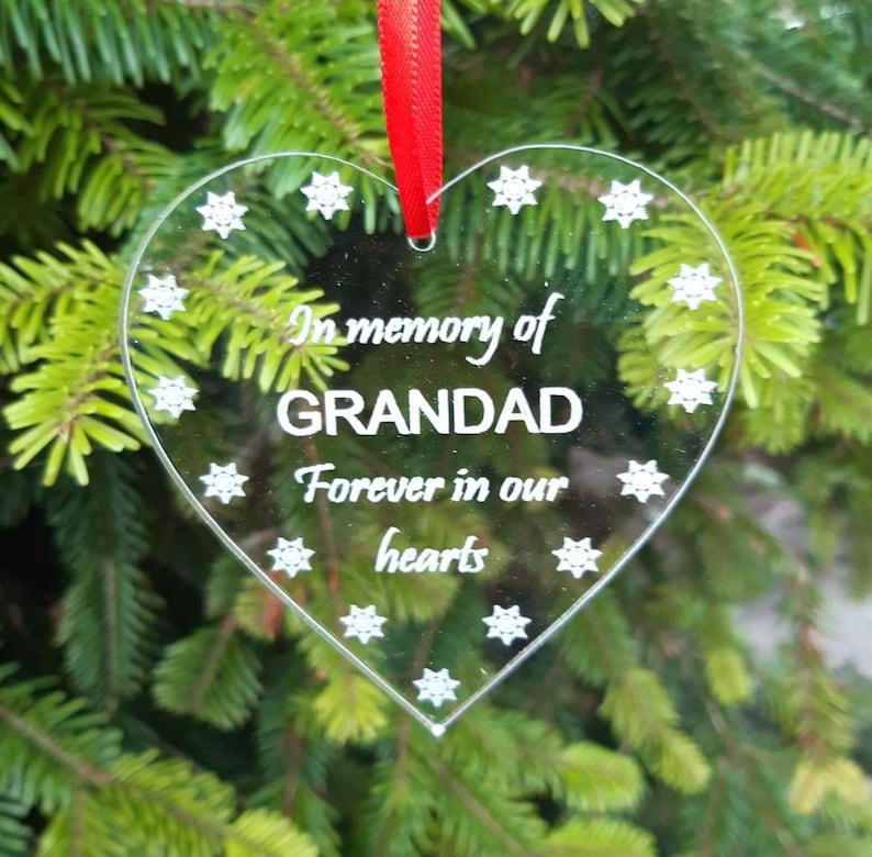 GRANDAD Memorial Christmas Tree Decoration In Memory Bauble image 0
