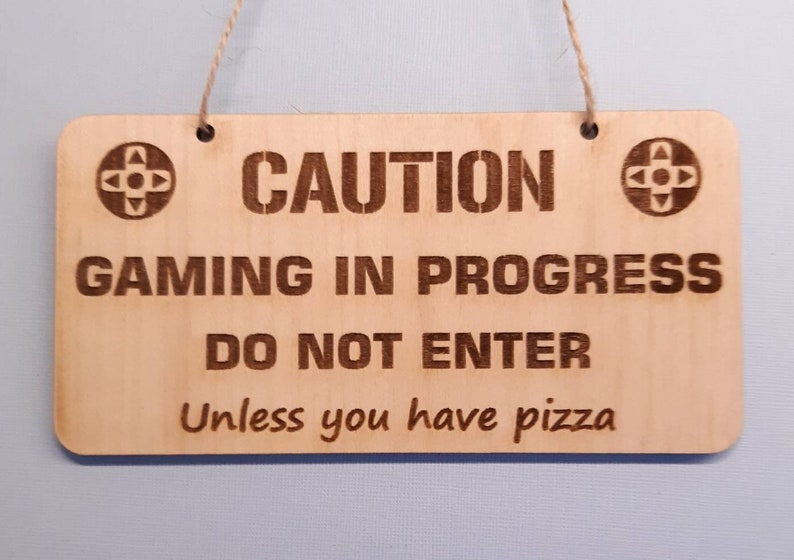 FUNNY Gamer's Door Sign CAUTION GAMING Man Cave Gamer image 0