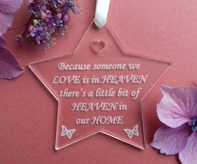 Memory STAR Heaven in our Home Heaven Ornament Remembrance image 0