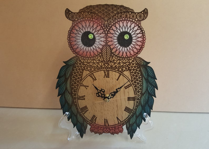OWL CLOCK Bird Clock Wood Novelty Owl Clock Unique Owl Gift image 0