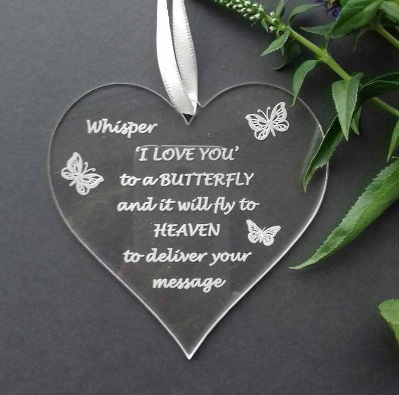 MEMORIAL Heart Remembrance Baby Loss Keepsake Butterfly In image 0