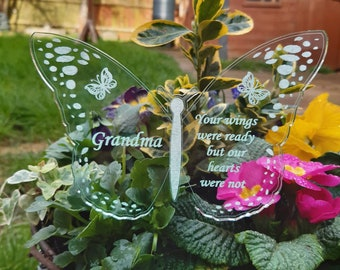 BUTTERFLY Memorial Decoration Gift, In Memory, Personalised Gift, Perspex Engraved Plant Pot or Grave Garden Ornament, Remembrance Sympathy