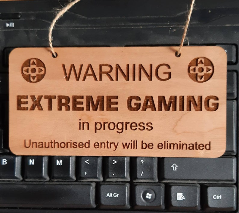 FUNNY Gamer's Door Sign Man Cave Gamer Gift Computer image 0