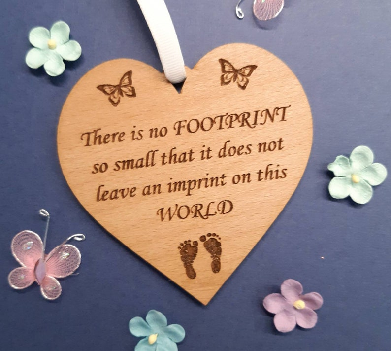 Baby Memorial FOOTPRINT Wood HEART Miscarriage Stillbirth image 0