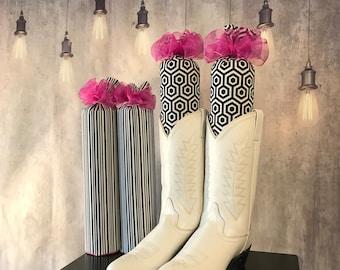 Black & White Print Boot Trees - Closet Organizer - Boot Freshener - Handmade - Customizable - Unique Gift - Boot Stuffers - Boot Buddies!