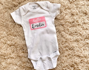 Hello My Name is Carson Personalized Name Baby Romper