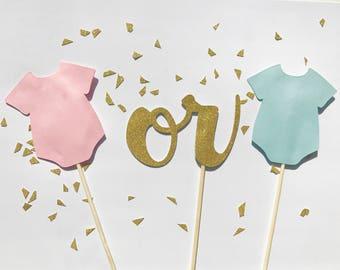 Gender Reveal Cake Topper - Gender Reveal - Boy or Girl a Cake Topper - Blue or Pink Onesie