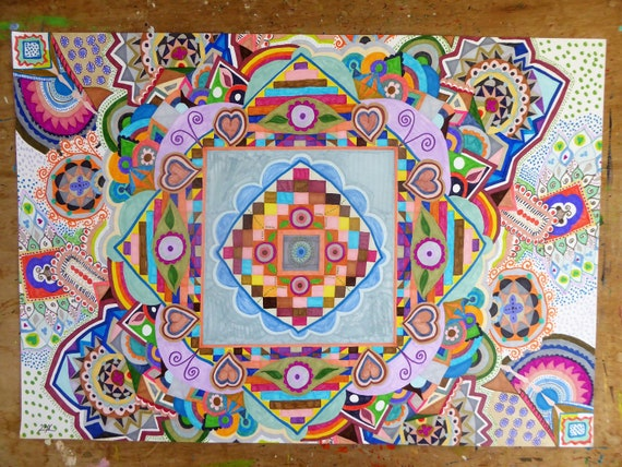 Original Mandala Art Singular Colorful Painting Unique Wall Art Modern Decorative Art Abstract Markers Artwork