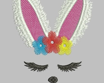 Flower bunny face embroidery design, Easter embroidery, Bunny girl, Bunny head, rabbit embroidery, bunny ears, bunny toy, bunny flower