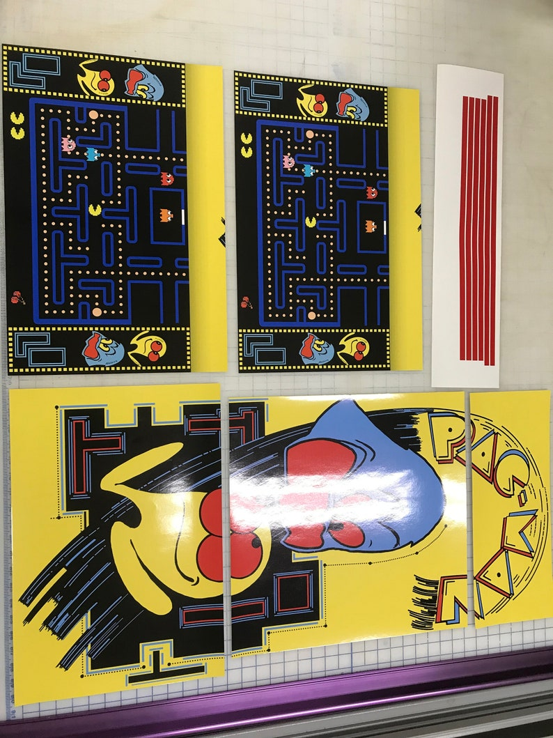 Arcade1up Cabinet Riser Graphics Pac Man Pacman Graphic Etsy
