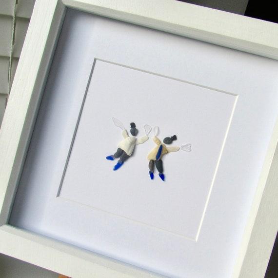 pebble art gift for him traditional English folk dance pebble picture summer dance sea glass and pebble Morris dancer blue sea glass