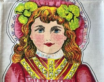 Cut and Sew Victorian Dolls Panel - Soft Girl Doll Fabric - Samuel FINBURGH 1916 Repro UK
