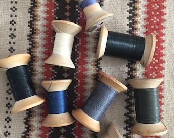 Vintage Bow Tie Wooden Spools - Thread Spools 30's- 40's - Vintage Thread - Vintage Spools