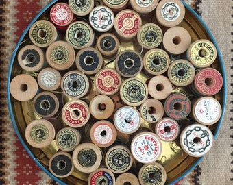 45 Vintage Wooden Spools of Thread - Vintage Thread - Sewing thread - Repurpose - Upcycle