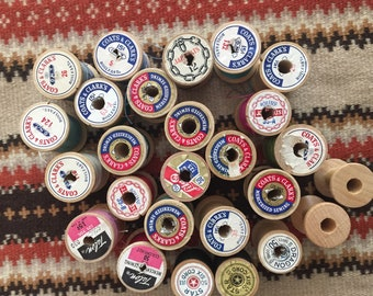 Lot of 31 vintage wooden spools of thread - Sewing Thread - Repurposed wooden spools -