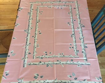 RARE - Vintage Birch Tree - Birch Log Pink and Gray Tablecloth - 60's - Gift - Mothers Day - Vintage tablecloth - Pink Tablecloth