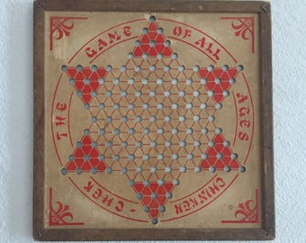 Vintage Chinker - Chek Board - Original Chinese Checkers Board - Game Board - Vintage Game Board