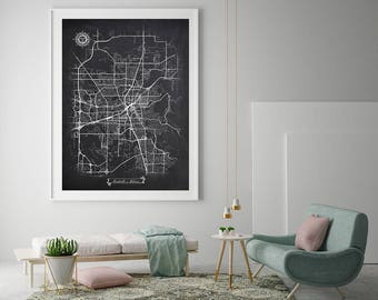 HUNTSVILLE Alabama Chalkboard Map Art Black And White Huntsville AL Vintage  City Map Graphic Detailed Scheme Street Map Wall Art Decor