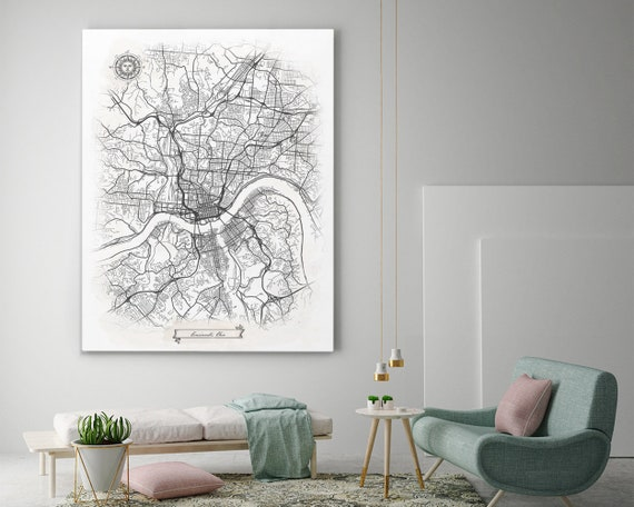 Cincinnati Ohio Canvas Map Art Cincinnati Oh Vintage Etsy