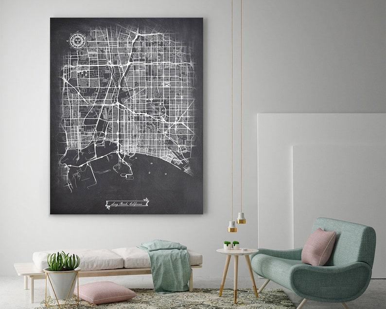 Long Beach Ca Canvas Map Art Chalkboard Graphic City Map Etsy
