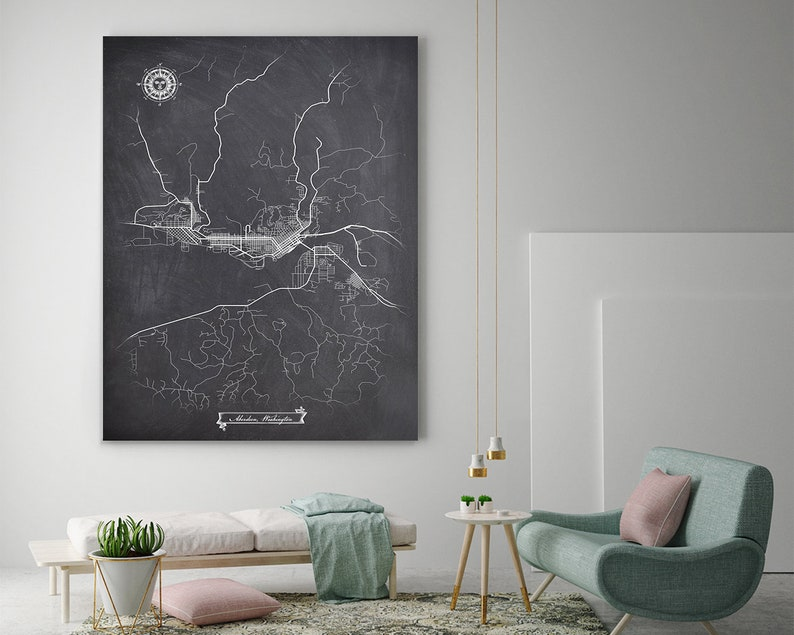 ABERDEEN WA Canvas Map Art, Chalkboard Graphic City Map, Vintage Canvas  Wall Art For Office, Parlor, Living Or Bedroom