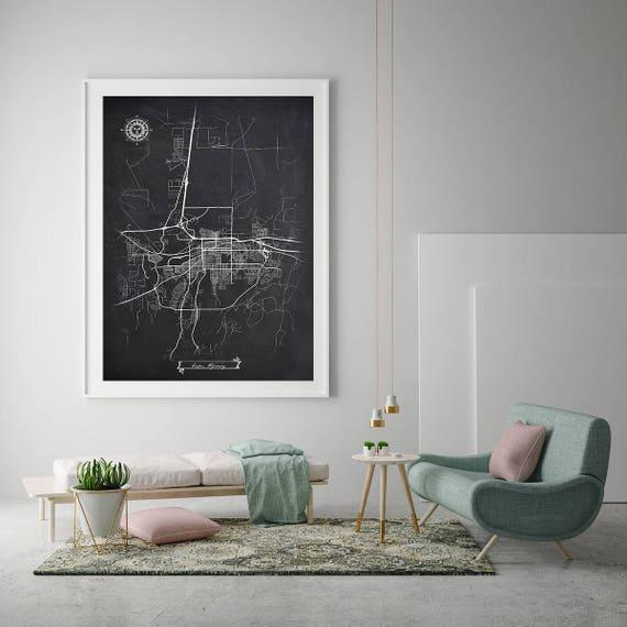 CASPER Wyoming Chalkboard Map Art Black and White Casper WY